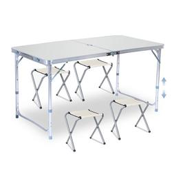 3 Levels Height Adjustment Portable Folding Camping Picnic Table Party Outdoor BBQ Garden Chair Set
