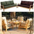 """WholesaleTeak Outdoor Patio Grade-A Teak Wood 6 Piece Teak Sofa Set - 3-Seater Sofa, 2 Lounge Chairs, 2 Ottomans and 35"""" Round Coffee Table -Furniture only --Somer Collection #WMSSSA5"""