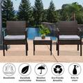 3 Pieces Patio Rattan Chair Sets, Outdoor Bistro Set, PE Wicker Patio Furniture Sets, Front Porch Furniture Chairs Set with Glass Coffee Table for Backyard Deck Poolsid Garden, JA1964