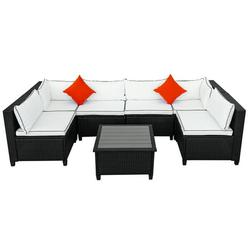 7-Piece Patio Furniture Sets on Sale, SEGMART 7-Piece Wicker Patio Conversation Furniture Set w/ Seat Cushions & Polywood Coffee Table, Wicker Sofa Sets for Porch Poolside Backyard Garden, S9078