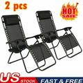 2X Zero Gravity Chairs Outdoor Folding Recliners Adjustable Lawn Patio Lounge Chair with Side Table and Cup Holders for Poolside, Yard and Camping