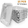 AMGRA (25/50-Pack) Grills Compatible Drip Pans, Bulk Package, Aluminum Foil BBQ Grease Pans 15*12*4.6cm