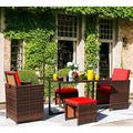 Vineego 5 Pieces Patio Sets Outdoor Wicker Conversation Sets Rattan Chairs with Ottomans and Tempered Glass Table(Red)