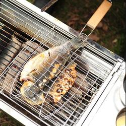 Mgaxyff Stainless Steel Non-Stick Handle BBQ Net Barbecue Mesh Fish Meat Grill Basket for BBQ Oven,Non-Stick Grill Basket,Grill Basket
