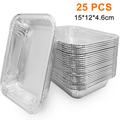 (25/50-Pack) Grills Compatible Drip Pans, Bulk Package, Aluminum Foil BBQ Grease Pans 15 * 12 * 4.6cm 25PCS