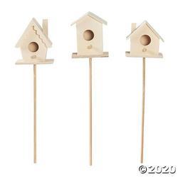 DIY Unfinished Wood Birdhouse Planter Sticks