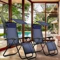 AMSUPER 2 Pack Patio Chairs Zero Gravity Chair Lounge Chaise Recliners Folding for Outdoor Yard Bench Pool Side with Pillow and Cup Holder Black