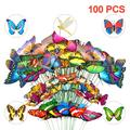 TSV 100/50Pcs Butterfly Stakes, 3 Different Sizes and Styles Garden Butterfly and Dragonfly Ornaments, 11.75inches Waterproof Butterfly Decorations for Indoor/Outdoor Yard, Patio Plant Pot, Flower Bed
