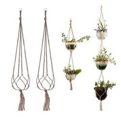 122cm(48'') Vintage Style Macrame Plant Hanger Basket Flowerpot Holder Macrame Hanging Planter Knotted Lifting Rope Home Garden Decor