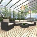 Gupbes 8 Piece Garden Lounge Set with Cushions Poly Rattan Black