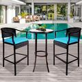 Outdoor High Top Table and Chair, Patio Furniture High Top Table Set with Glass Coffee Table, Removable Cushions, Outdoor Bar Table with Chair, Patio Bistro Set for Backyard Poolside Balcony, Q17054