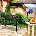 Outdoor Benches, Farmhouse Decor Metal Outdoor Bench, Garden Bench Outdoor Bench Patio Bench, Loveseat Outdoor Bench, Patio Park Porch Garden Bench Chair, Outdoor Benches C, Black, W9160