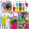 4Inch Iron Hanging Planters Multicolor Flower Pots Balcony Garden Railing Planter, Fence Hanging Metal Bucket Plants Holders Set for Indoor and Outdoor, 4PCS