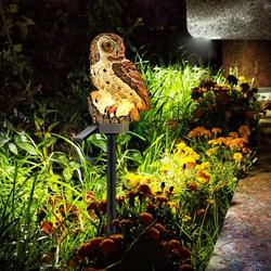 Garden Solar Lights Outdoor, Fake Owl Decor, Owl Garden Solar Lights, Solar Powered LED Lamp, Decorative Garden Stake Lights for Walkway Yard Lawn Landscape Lighting (Brown)