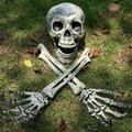 Emopeak Realistic Looking Skeleton Stakes, Yard Lawn Stakes, Halloween Groundbreakers Decorations for Lawn Stakes Garden