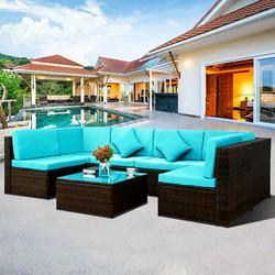 7-Piece Patio Furniture Sets on Sale, SEGMART 7-Piece Wicker Patio Conversation Furniture Set w/ Seat Cushions & Tempered Glass Coffee, Wicker Sofa Sets for Porch Poolside Backyard Garden, S7048