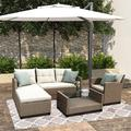 Patio Furniture Sets, 4-Piece Outdoor Sectional Sofa Set with Loveseat and Lounge Sofa, Armchair, Coffee Table, All-Weather Wicker Furniture Conversation Set for Backyard Garden Pool, Q16391