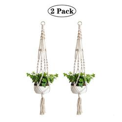 Amerteer Macrame Plant Hanger, 2 Pack Plant Hanger, Cotton Rope Plant Hangers Indoor Outdoor, 4 Legs Plant Hanger Brackets, Flower Pot Hanging Plant Holder for Home Decorations 41 Inches