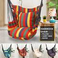 FENG Portable Hammock Hanging Rope Chair Porch Swing Seat with 2 Pillows and Carry Case for Patio Garden Camping Indoor Outdoor
