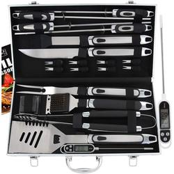 21pc BBQ Grill Accessories Set with Thermometer - The Very Best Grill Gift on Birthday Wedding - Heavy Duty Stainless Steel Grill Utensils with Non-Slip Handle in Aluminum Case