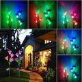 iLH Discoloration 4 Solar Lily LED Solar Flower Light 2 Pack (Red and Purple)