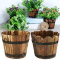 Promotion Clearance Wooden Bucket Planter, Rustic Flower Pot Succulent Planter Wood Barrels, Flower Planters Container for Indoor Outdoor Home Garden Decoration