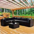Sectional Patio Chairs & Seating Sofa Furniture for Garden Outdoor Patio, 7-Piece All-Weather Resistant PE Wicker Patio Conversation Set w/ Glass Table, 3 Corner Sofa, 330lbs, Gray+Brown, SS785