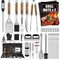 BBQ Grill Accessories Set, 38Pcs Stainless Steel Grill Tools Grilling Accessories with Aluminum Case, Thermometer, Grill Mats for Camping/Backyard Barbecue, Grill Utensils Set for Men Women