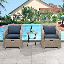 Outdoor Wicker Furniture Sets, 5 Piece Patio Furniture Lounge Chair Set with 2 Cushioned Chairs, 2 Ottoman, Glass Table, PE Rattan Outdoor Wicker Bistro Conversation Set for Backyard, Porch, Garden