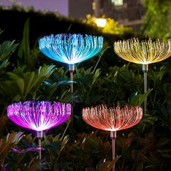 Neporal Solar-Garden-Lights-Outdoor-Decorative Solar Flowers Garden Lights Solar Powered IP65 Waterproof Fiber Optic Solar Stake Lights for Yard Patio Garden Pathway (4 Pack)