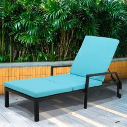 Patio Rattan Lounge Chair Chaise Recliner, Outdoor Patio Furniture Set for Poolside Garden Beach, Reclining Rattan Lounge Chair Chaise Couch Cushioned with Adjustable Back, 2 Wheels, 1PC, Q17048