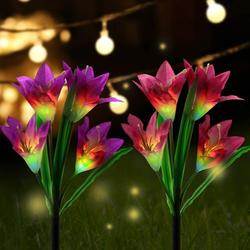 Solar Light Garden, 2 Pack Solar Garden Lamps Lily Flowers Solar Light with Color Changing Led Lamps, Outdoor Decoration Lights For The Garden / Lawn / Field / Terrace / Path (Purple vnd Red)