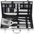 POLIGO 22PCS Outdoor Barbecue Grill Accessories Set Stainless Steel BBQ Grill Tools Kit - Premium Grill Utensils in Aluminum Case Ideal Camping Grilling Gifts Set for Dad Men, Silver