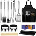 BBQ Grill Accessories, Stainless Steel BBQ Tools Set for Men & Women Grilling Utensils Accessories with Storage Apron Gift Kit for Barbecue Indoor Outdoor