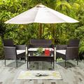 4Piece Wicker Patio Furniture Set, BTMWAY Rattan Wicker Outdoor Patio Conversation Sofa Set for Deck Porch Poolside Lawn Bistro Chairs Set w/Cushions&Loveseat&Single Chair&Side Table, Brown, R431