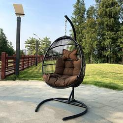 Foldable Hanging Egg Chair with Cushions and Headrest Steel Stand Set - Outdoor Lounging Hammock Chair Resin Wicker Porch Swing - Single Basket Design Patio for Indoor and Garden Lounge (Coffee)