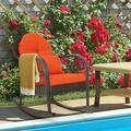 Costway Outdoor Patio Rattan Wicker Rocking Chair Rocker Cushion Pillow Garden Deck