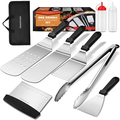 Homemaxs Griddle Accessories Kit, 9 Piece Flat Top Grill Accessories, Griddle Accessories Tools with Spatula, Scraper, Tongs, Bottle, Carrying Bags for Outdoor BBQ, Teppanyaki and Camping
