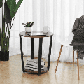Round End Table Industrial Rustic Side Table 2 Shelves