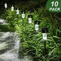 10Pack LED Solar Lawn Lights Outdoor Garden Pathway Lights Stainless Steel Waterproof Landscape Floor Lamp for Lawn, Patio, Yard, Walkway, Driveway