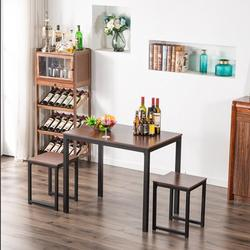 Kitchen Table Set, YOFE Modern Dining Room Table Sets, 3 Piece Kitchen Table Set w/ 2 Stools, Small Dining Table Sets for 2, Metal Frame Kitchen Table Set with Chair for Small Spaces, Beige, R3560