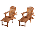 Classic Walnut Adirondack Chaise Lounge Chair Foldable, cup and glass holder, built in ottoman, Set of 2