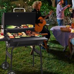 Patio Outdoor Charcoal Grill for Patio, 30'' Portable BBQ Charcoal Grill with Metal Shelf, BBQ Charcoal Grill w/Temperature Gauge and Metal Grate, Cooking Grate for Steak Chicken, SS1062