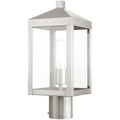 """Brushed Nickel Tone Finish Outdoor Post Stainless Steel Medium 6"""" Wide 1 Light Fixture"""
