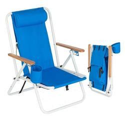 Portable Backpack Beach Chair, High Strength Patio Folding Lightweight Camping Chair, Outdoor Garden Park Pool Side Lounge Chair, with Cup Holder & Adjustable Headrest