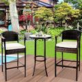 Outdoor High Top Table and Chair, Patio Furniture High Top Table Set with Glass Coffee Table, Removable Cushions, Outdoor Bar Table with Chair, Patio Bistro Set for Backyard Poolside Balcony, Q17068