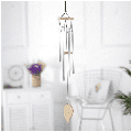 """Large aluminum wind chimes with 6 metal tubes, wind chimes decoration with s-hooks for outside balcony garden, 31 """", silver"""