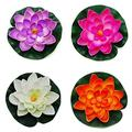 """GOEGE Artificial Floating Foam Lotus Flower Pond Decor Water Lily with Stylus Set of 4 (Large(3.5"""" 11"""" inch))"""
