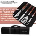 Deluxe BBQ Grill Tool Set with Rosewood Handles - Best Grilling Gift- Heavy Duty Grill Accessories Grilling Tools Set Grill Utensils- Extra Thick Stainless Steel Grill Spatula, Tongs, Fork& Meat Knife