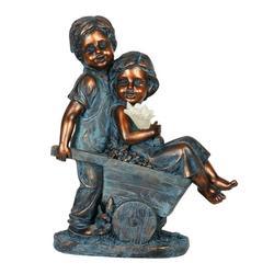 Exhart Faux Bronze Solar Boy and Girl in Wheelbarrow Garden Statue, 10 by 13 inches, Resin, Multicolor